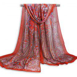 Vintage Arab Paisley Printed Shawl Scarf - BRIGHT RED