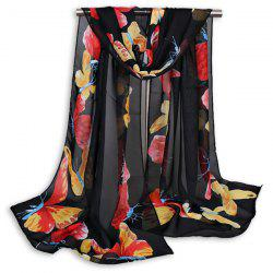 Gauze Painted Butterfly Printing Shawl Scarf