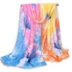 Flower Multicolour Clouds Printing Chiffon Scarf