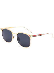 Stripe Leg Metallic Frame Mirror Sunglasses
