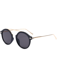 Metallic Long Crossbar Mirror Round Sunglasses