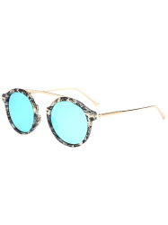 Reflective Long Metal Crossbar Round Mirror Sunglasses