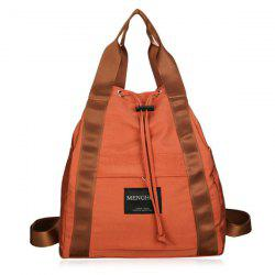 Top Handle Drawstring Canvas Backpack - Tangerine