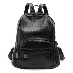 Casual Textured PU Leather Backpack