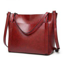 Front Pocket Faux Leather Tote Bag -