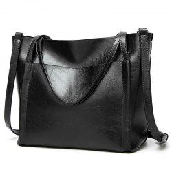 Front Pocket Faux Leather Tote Bag - BLACK