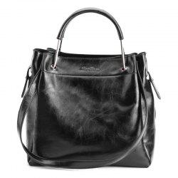 Metal Handle Faux Leather Tote Bag