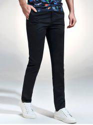 Label Embellished Zip Fly Casual Pants