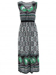Elephant Print Elastic Waist Sleeveless Midi Dress