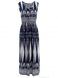 Geometrical Print Elastic Waist Sleeveless Midi Dress - PURPLISH BLUE