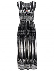Geometrical Print Elastic Waist Sleeveless Midi Dress