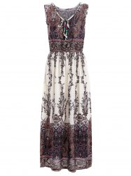 Paisley Print Elastic Waist Sleeveless Tea Length Dress