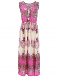 Vintage Print Elastic Waist Sleeveless Maxi Dress