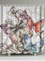 Vintage Fabric Butterfly Print Shower Curtain - COLORMIX