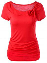 Bowknot Embellished Ruched Plain Tee
