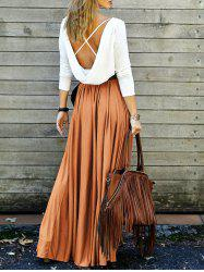 Long Sleeve Backless Maxi Pleated Flowy Dress - ORANGE