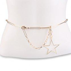 Hollow Out Pentagram Link Chain Ceinture - Or
