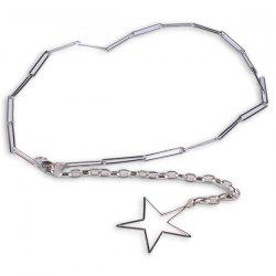 Hollow Out Pentagram Link Chain Waist Belt - SILVER