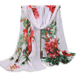Floral Blossom Wash Painting Shawl Scarf - RED STRIPE