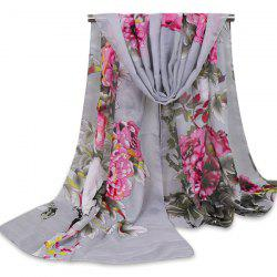 Floral Blossom Wash Painting Shawl Scarf - GRAY