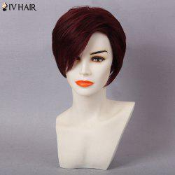 Siv Hair Short Layered Pixie Side Bang Human Hair Wig - DARK RED