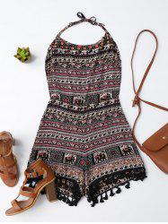 Tribal Print Open Back Tassel Romper - Multicolore