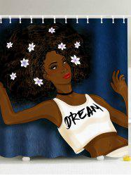 Afro Girl Think About Her Dream Pattern Shower Curtain