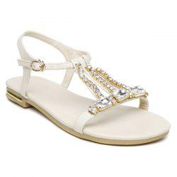 Faux Leather Rhinestones Sandals