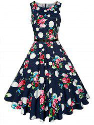Vintage High Waist Printed Belted Midi Dress