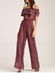 Off The Shoulder Ruffle Layer Striped Jumpsuit