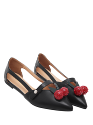 Cherry Embellishment Hollow Out Flat Shoes