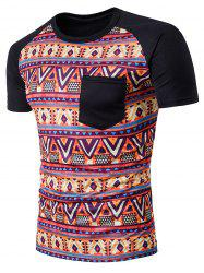 Tribal Printed Raglan Sleeve Casual T-Shirt -