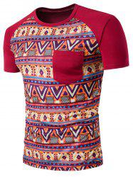 Tribal Printed Raglan Sleeve Casual T-Shirt