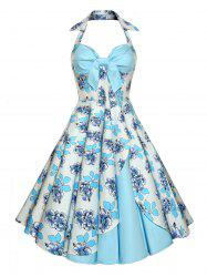Backless Floral Vintage Dress - LIGHT BLUE