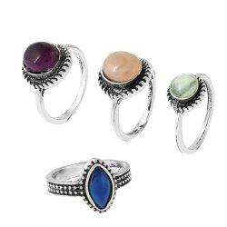 Vintage Faux Gemstone Geometric Ring Set - Multicolore