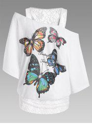 Oversized Butterfly Print Lace Panel Tee