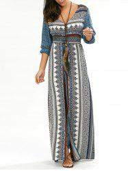 Button Down V Neck Long Dress with Split - BLUE XL