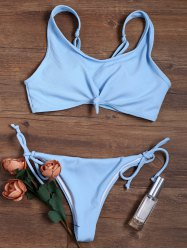 Knotted Adjustable Straps Ribbed String Bikini Swimsuit - WINDSOR BLUE