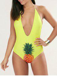 Plunge Halter Pineapple One Piece Swimsuit