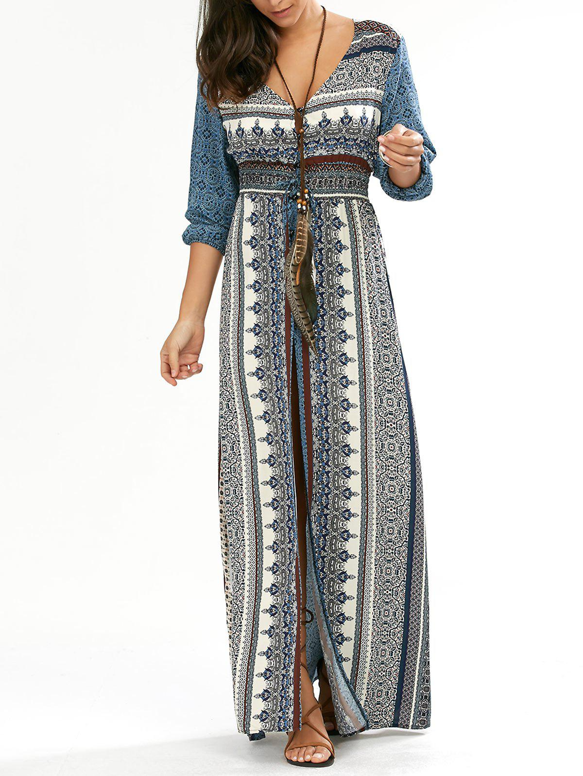 Button Down V Neck Long Boho Dress with SplitWOMEN<br><br>Size: L; Color: BLUE; Style: Bohemian; Material: Cotton Blend,Polyester; Silhouette: Beach; Dresses Length: Floor-Length; Neckline: V-Neck; Sleeve Length: 3/4 Length Sleeves; Waist: Empire; Embellishment: Button; Pattern Type: Print; With Belt: No; Season: Fall,Spring,Summer; Weight: 0.3800kg; Package Contents: 1 x Dress;