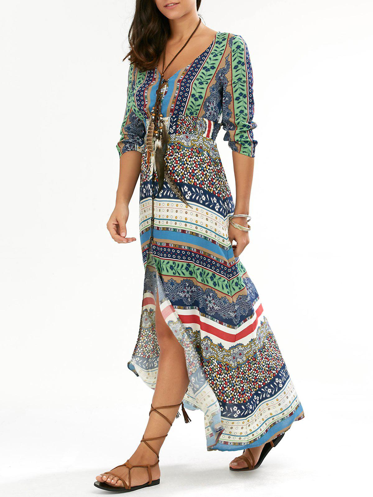 Affordable Maxi Slit Printed Casual Flowy Beachwear Dress