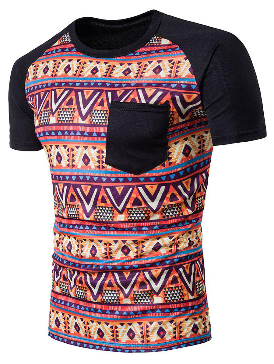 Cheap Tribal Printed Raglan Sleeve Casual T-Shirt