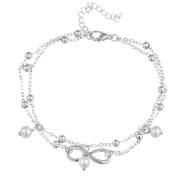 Beads Faux Pearl 8 Shape Double Layered AnkletJEWELRY<br><br>Color: SILVER; Gender: For Women; Metal Type: Alloy; Style: Trendy; Shape/Pattern: Geometric; Weight: 0.0500kg; Package Contents: 1 x Anklet;