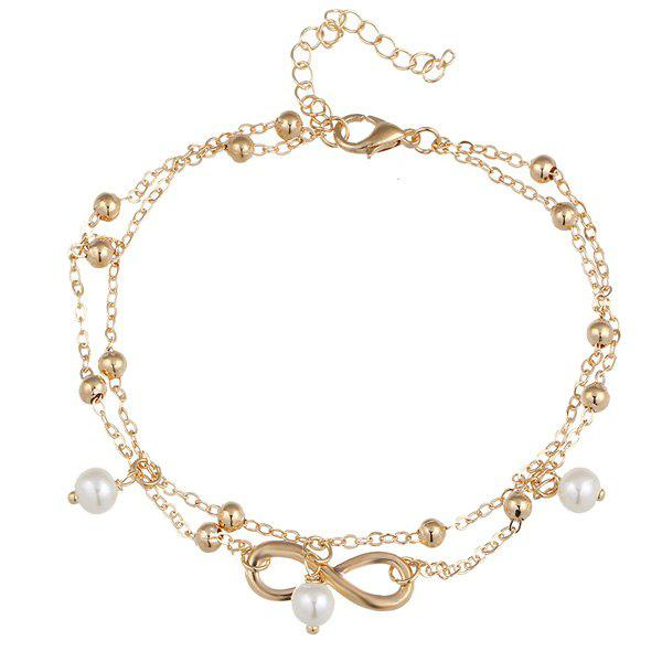 Beads Faux Pearl 8 Shape Double Layered Anklet