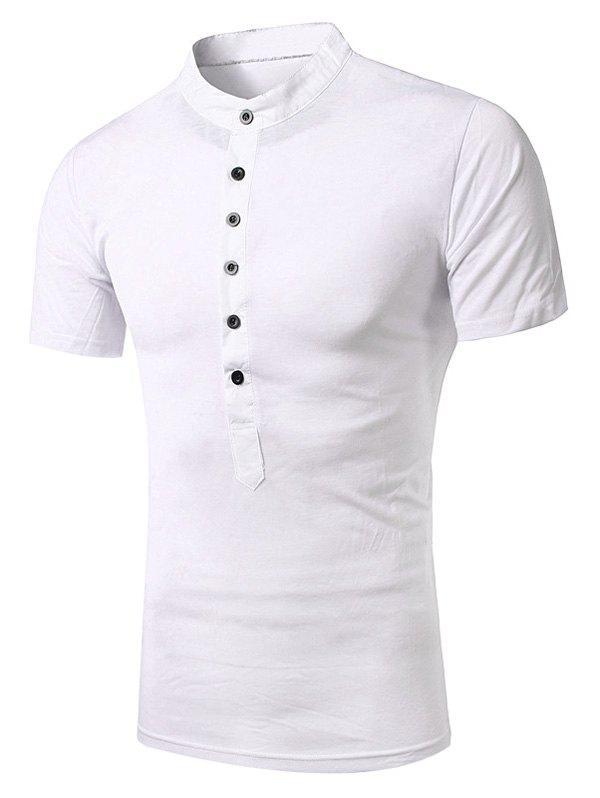 Shops Stand Collar Splicing Design Short Sleeve T-Shirt For Men