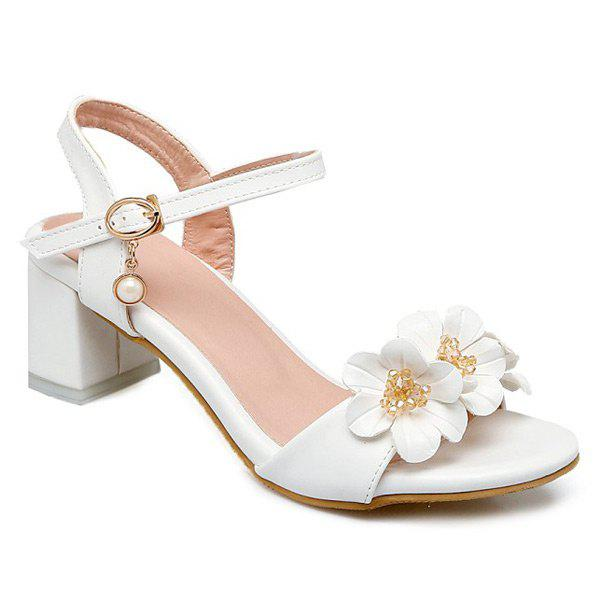 Fancy Faux Pearl Flowers Block Heels Sandals