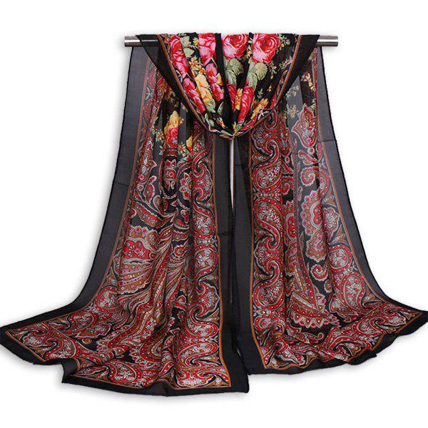 Vintage Arab Paisley Printed Shawl ScarfACCESSORIES<br><br>Color: BLACK RED; Scarf Type: Scarf; Group: Adult; Gender: For Women; Style: Vintage; Material: Polyester; Pattern Type: Print; Season: Fall,Spring,Summer,Winter; Scarf Length: 160CM; Scarf Width (CM): 50CM; Weight: 0.1000kg; Package Contents: 1 x Scarf;