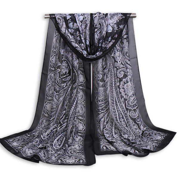 Vintage Arab Paisley Printed Shawl ScarfACCESSORIES<br><br>Color: BLACK; Scarf Type: Scarf; Group: Adult; Gender: For Women; Style: Vintage; Material: Polyester; Pattern Type: Print; Season: Fall,Spring,Summer,Winter; Scarf Length: 160CM; Scarf Width (CM): 50CM; Weight: 0.1000kg; Package Contents: 1 x Scarf;