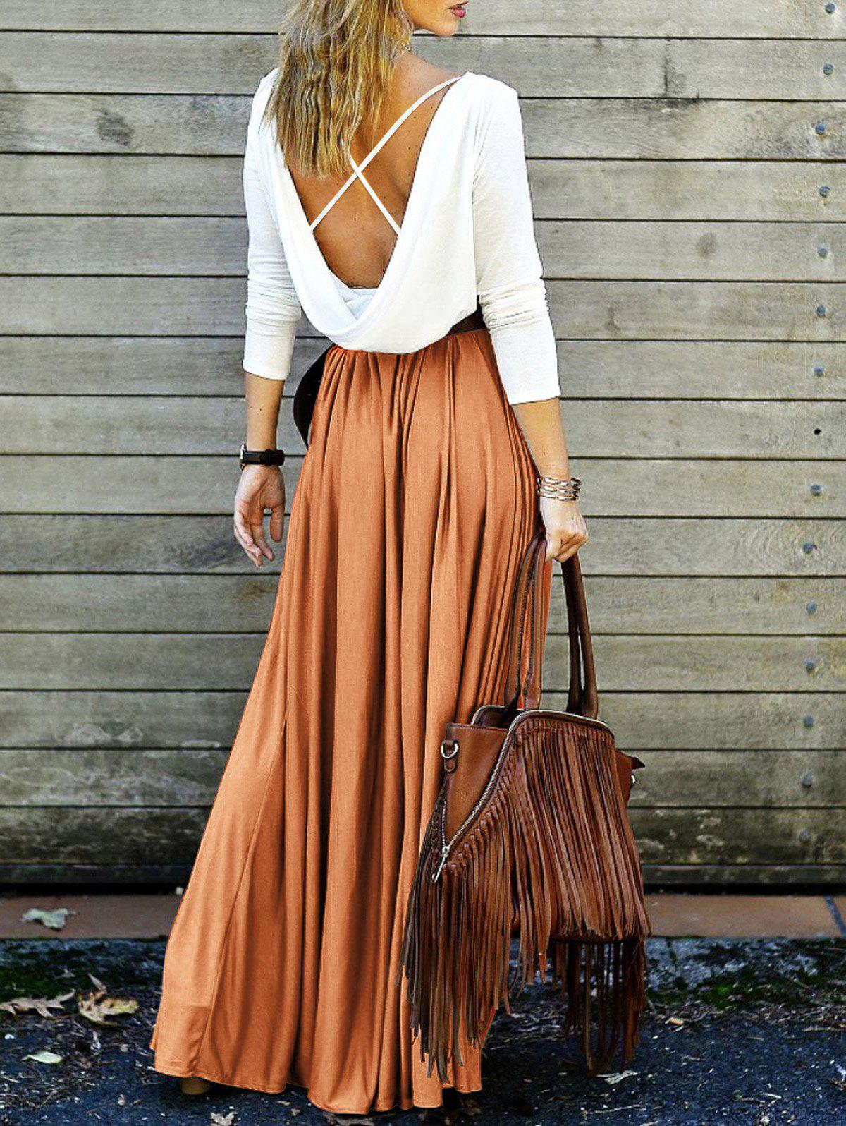 Sale Long Sleeve Backless Maxi Pleated Flowy Dress