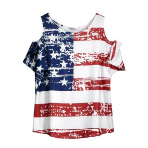 Cold Shoulder Distressed American Flag T-shirt
